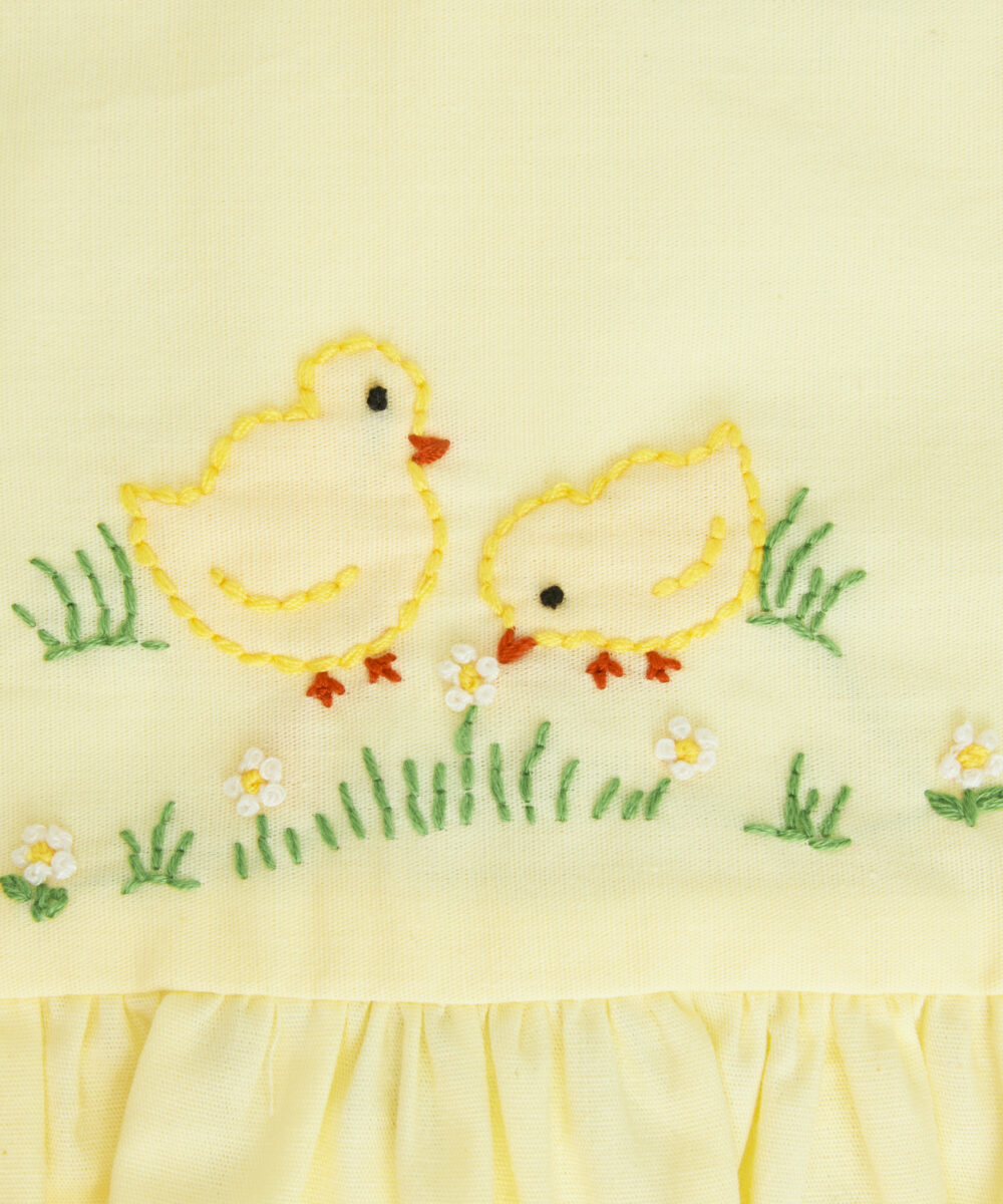 Yellow Baby Chicks & Floral Embroidered Dress