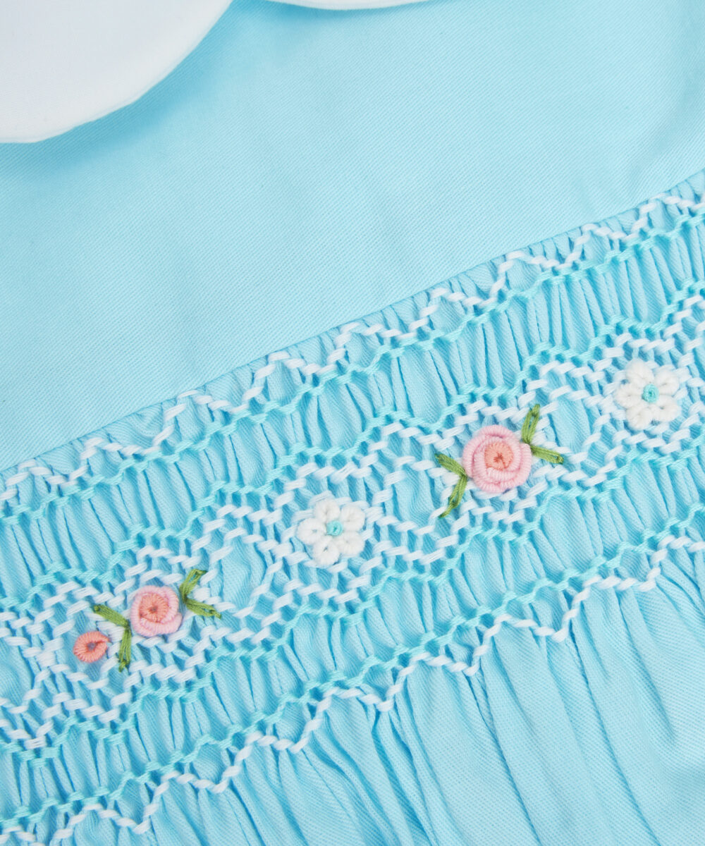 Smocked Aqua Blue Peter Pan Collar Dress