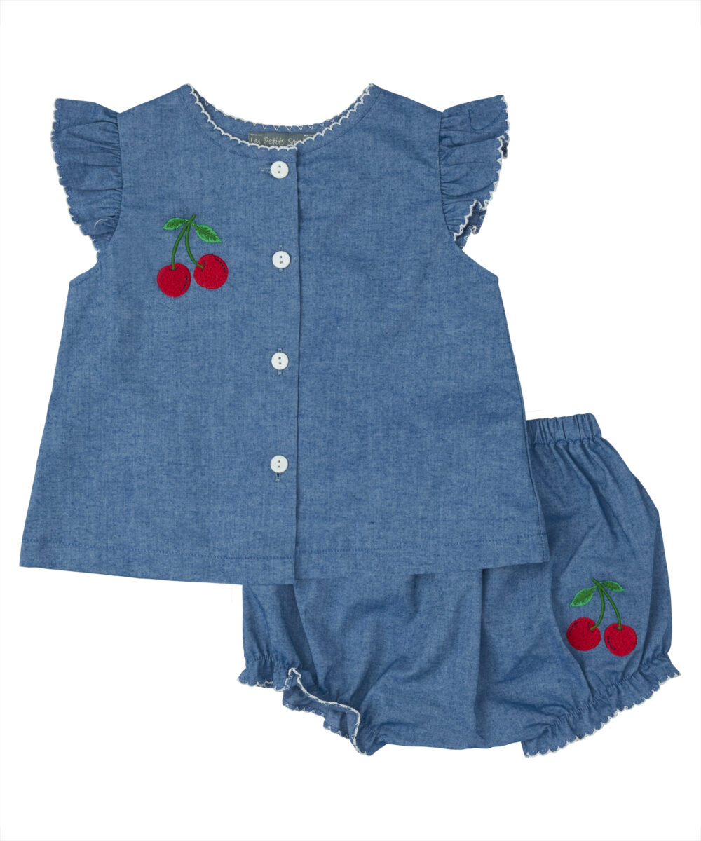 Blue Denim Embroidered Cherry Top & Bloomers