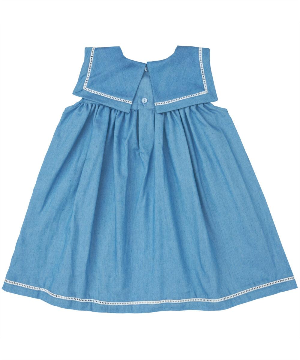 Blue Denim & White Trim Square Collar