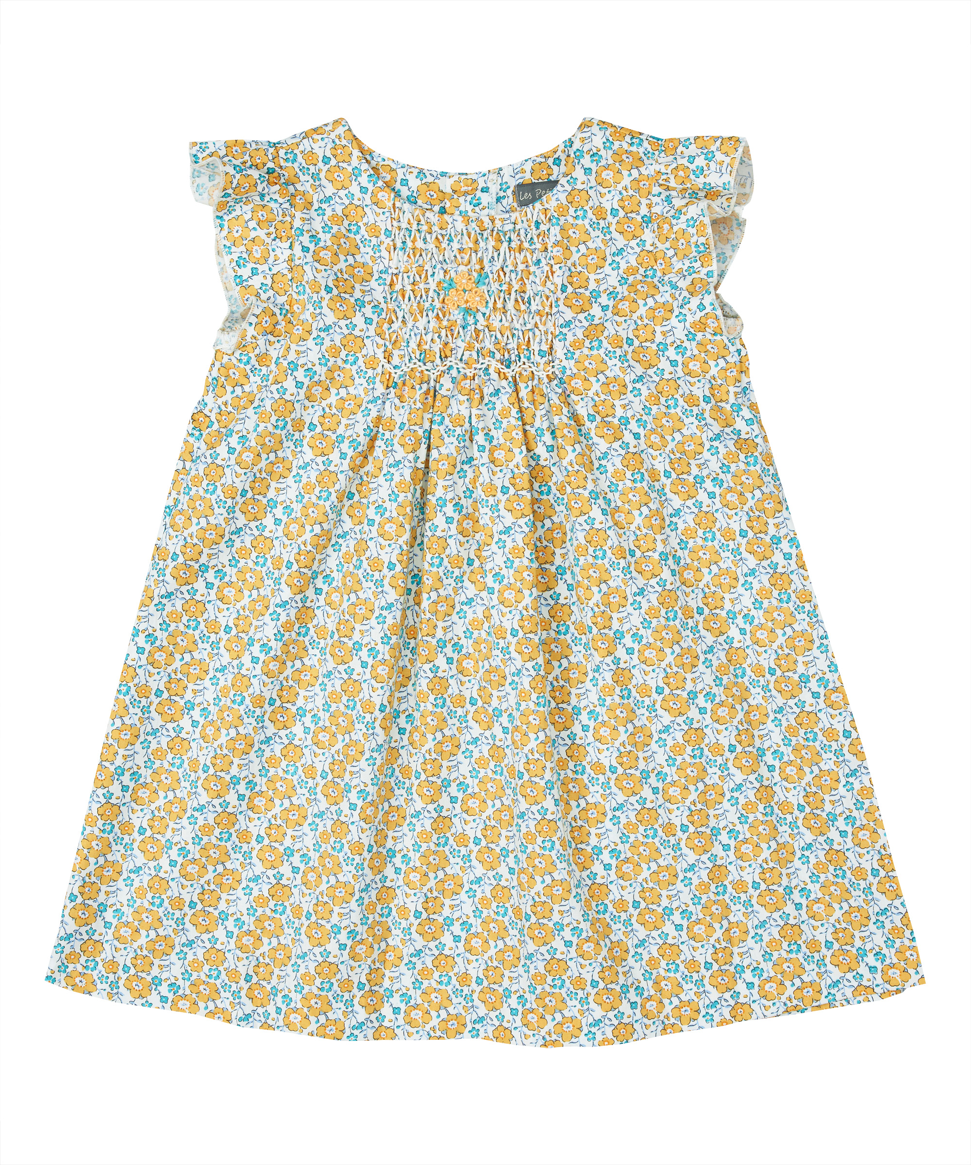 Yellow Floral Smocked A-Line Ruffle Sleeve Dress