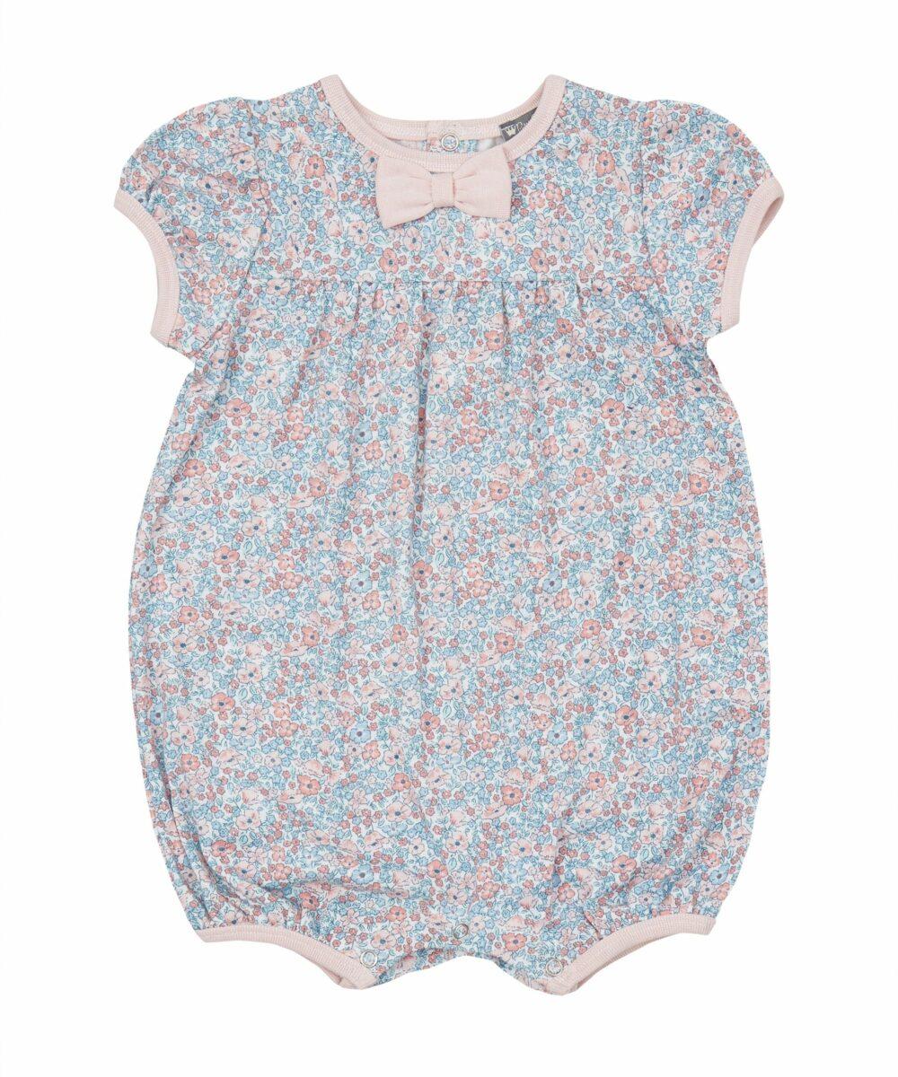 Pink & Blue Floral Jersey Romper