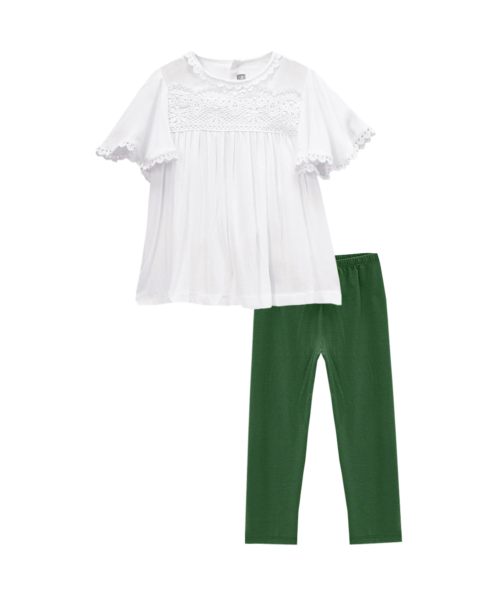 Off White Lace Trim Top & Green  Leggings