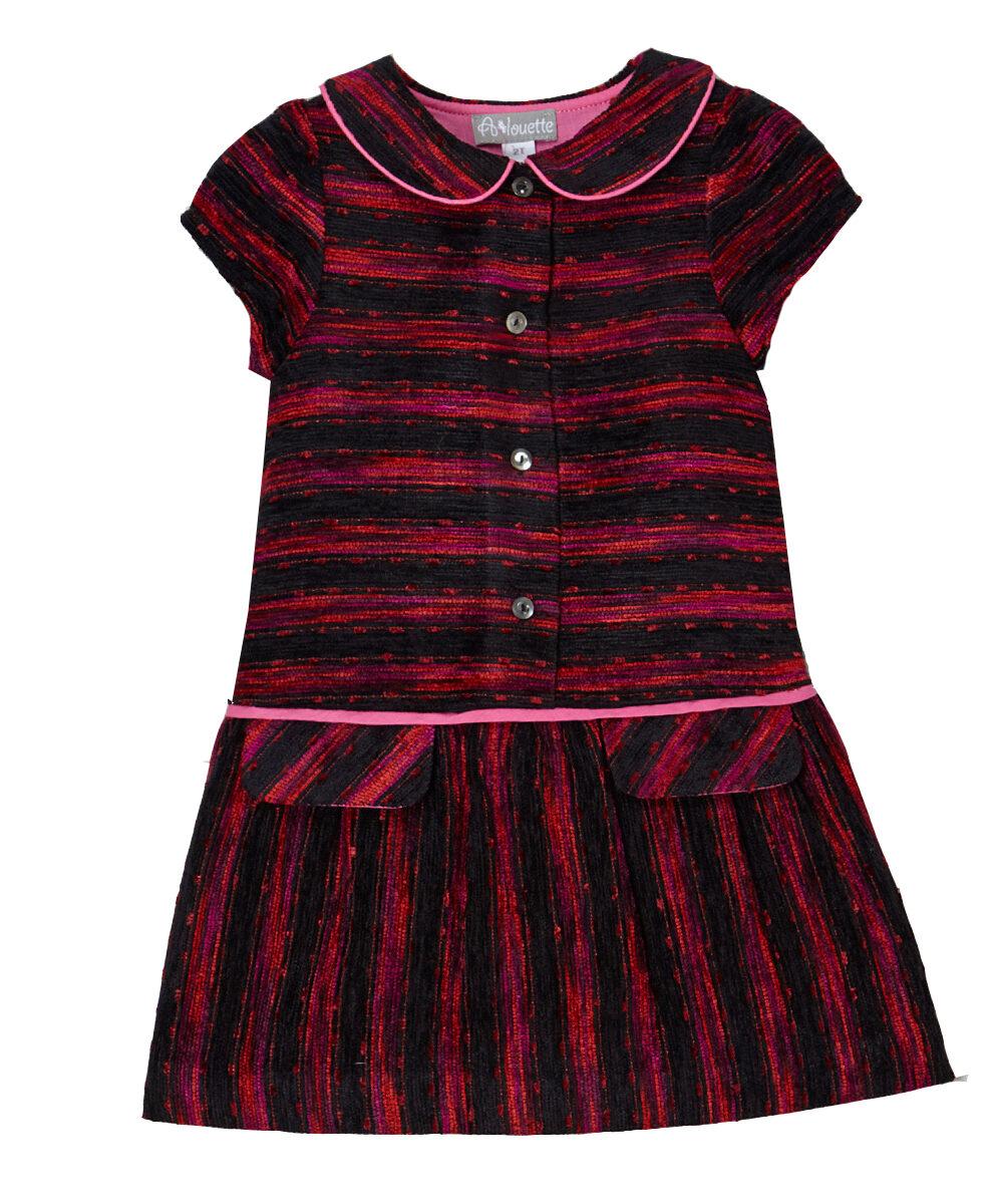 Red & Black Wool Blend Drop-Waist Dress