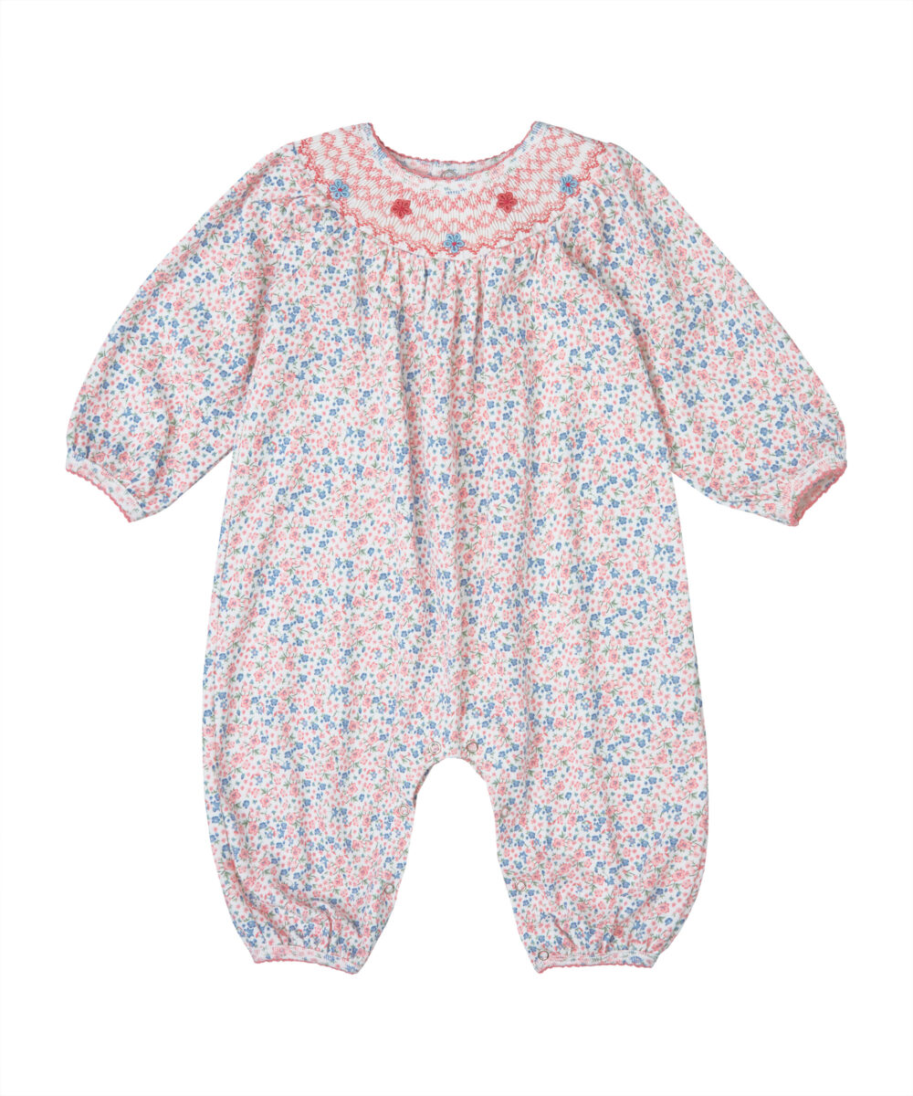 Smocked Printed Jersey Cotton Romper