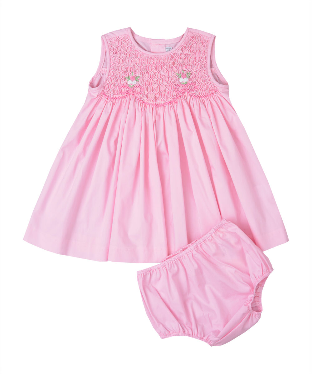 Pink Smocked Dress & Diaper Cover