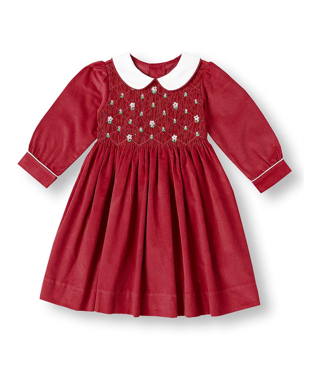 Red Corduroy Smocked Peter Pan Collar Dress