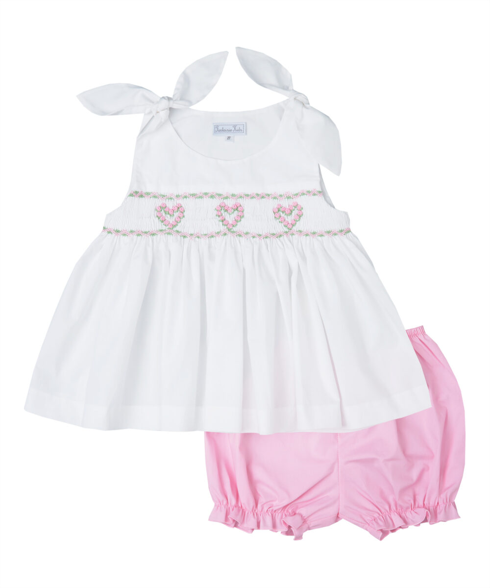 White & Pink Heart Smocked Dress and Bloomers