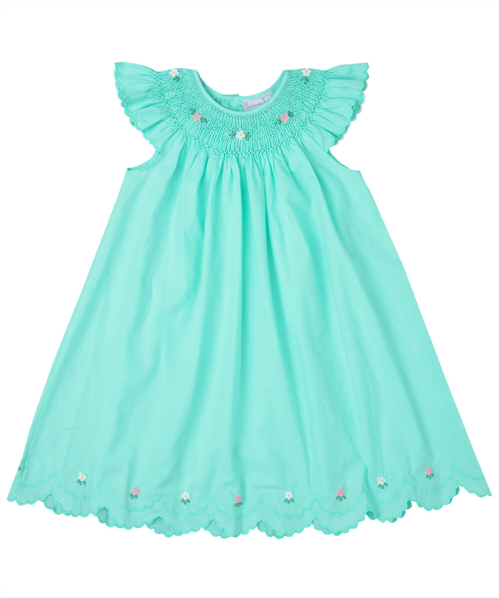 Turquoise Smocked Angel Sleeve Scalloped  Hem Dress