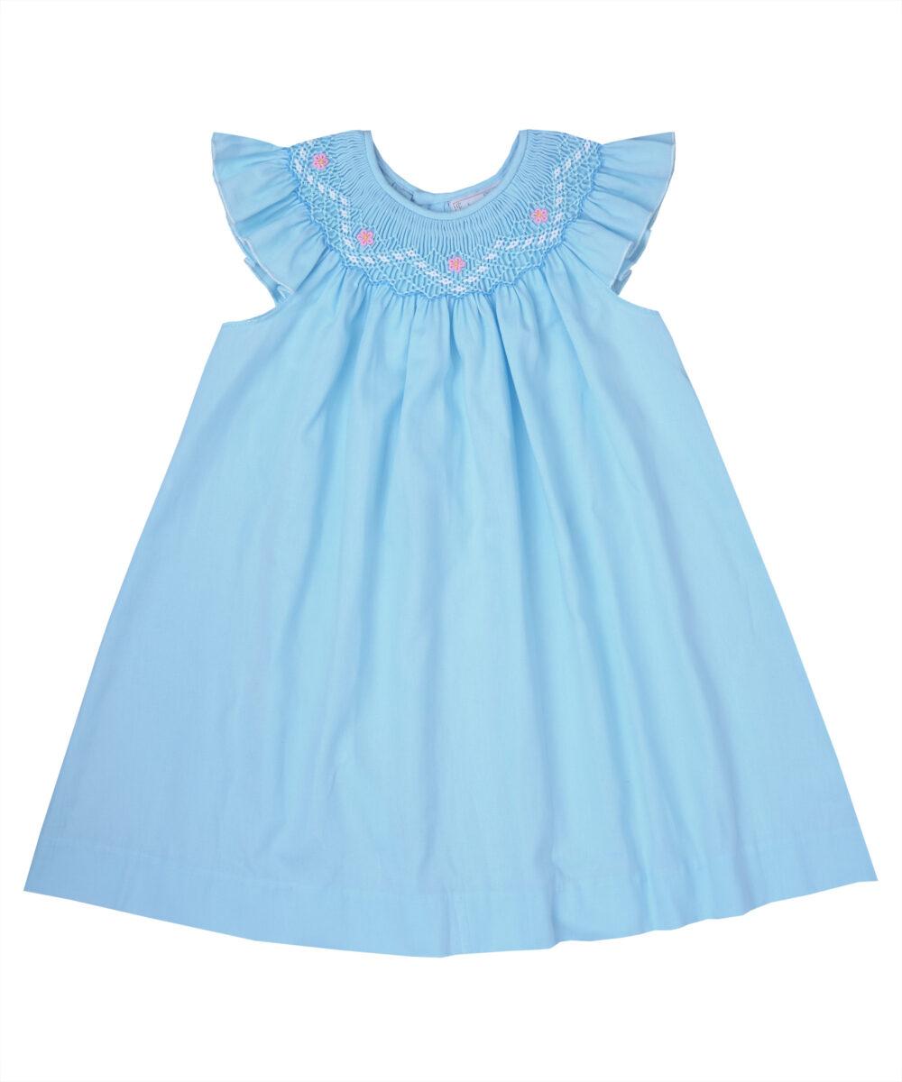 Sea Blue Smocked  Angel Sleeve Dress