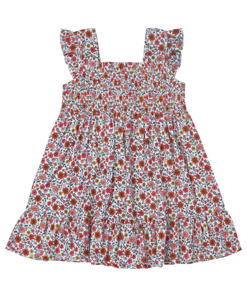 Red Floral Jersey Cotton Ruffle Dress