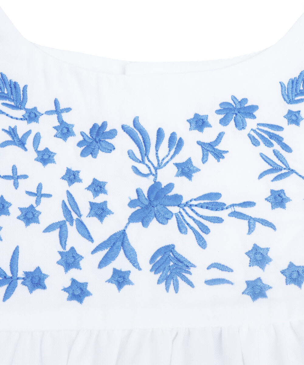 White & Blue Embroidered Ruffle Top and Denim Short