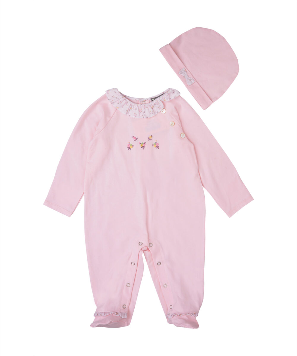 Embroidered Pink Jersey Cotton Footies & Hat