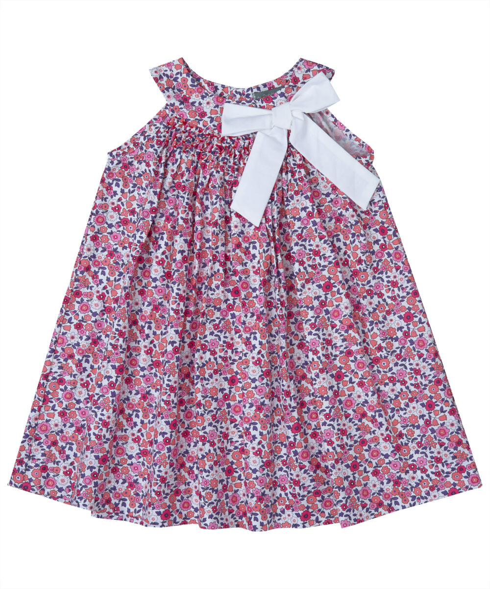 Smocked Floral Bow Tie Dress