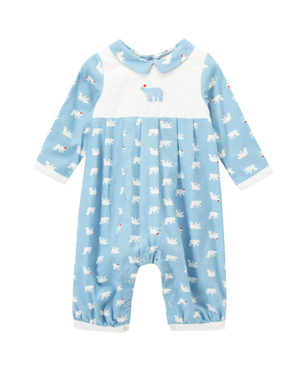 Blue & White Embroidered Bear Playsuit