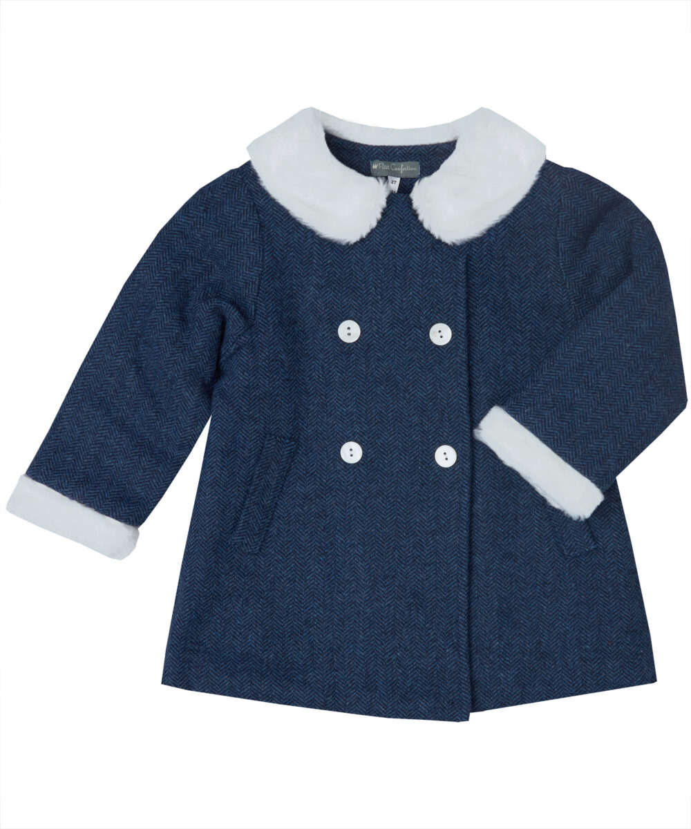 Navy Blue Wool Blend Pea Coat