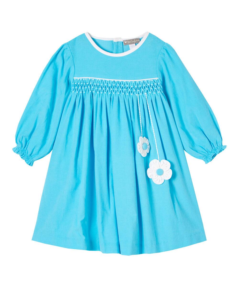 Aqua Blue Smocked Floral Dress