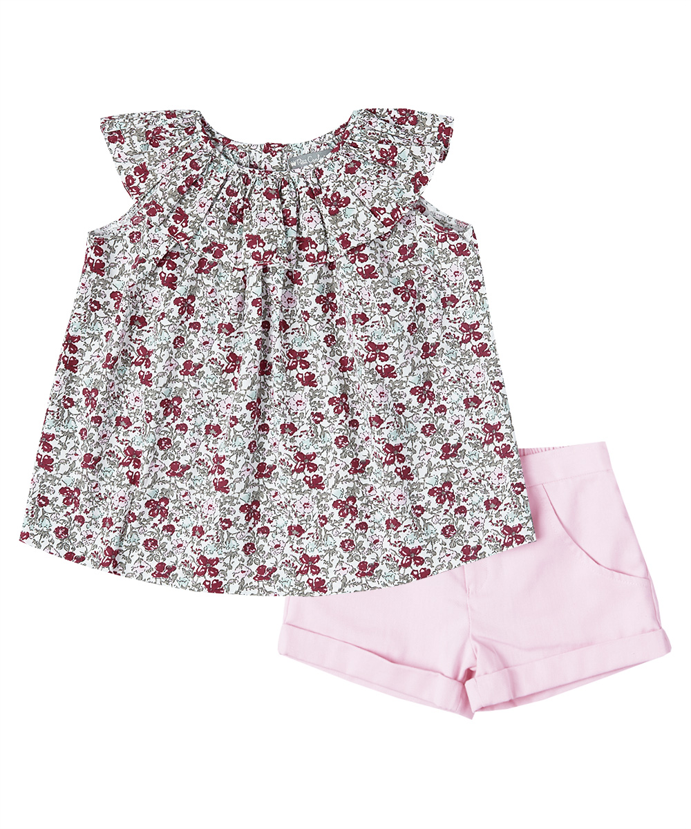 Red Floral Ruffle Collar Top & Pink Shorts