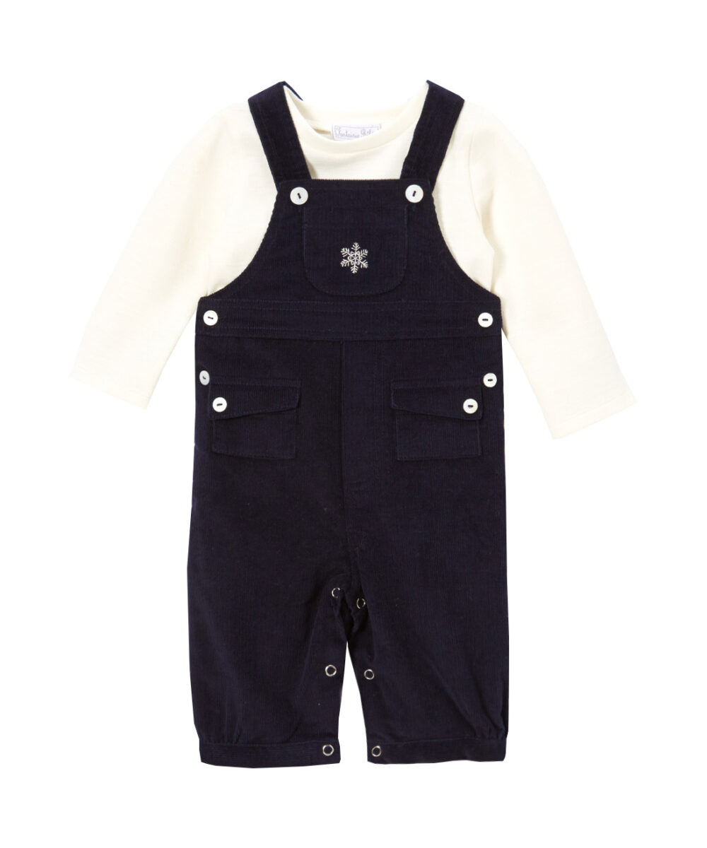 Ivory & Navy Snowflake Corduroy Overalls And Long-Sleeve Top