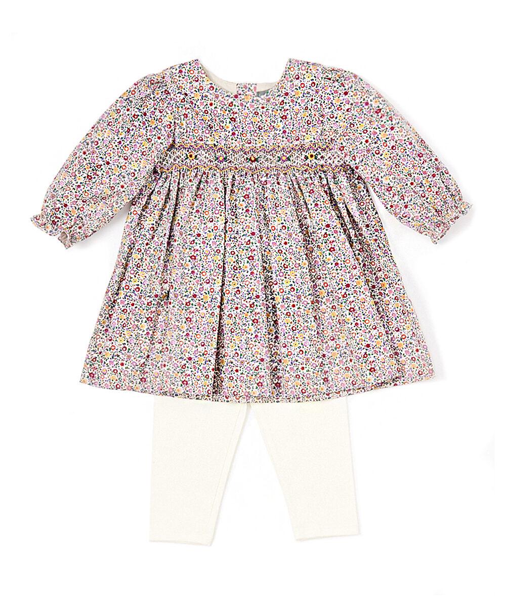 Lavender Floral Smocked Babydoll Dress & Leggings