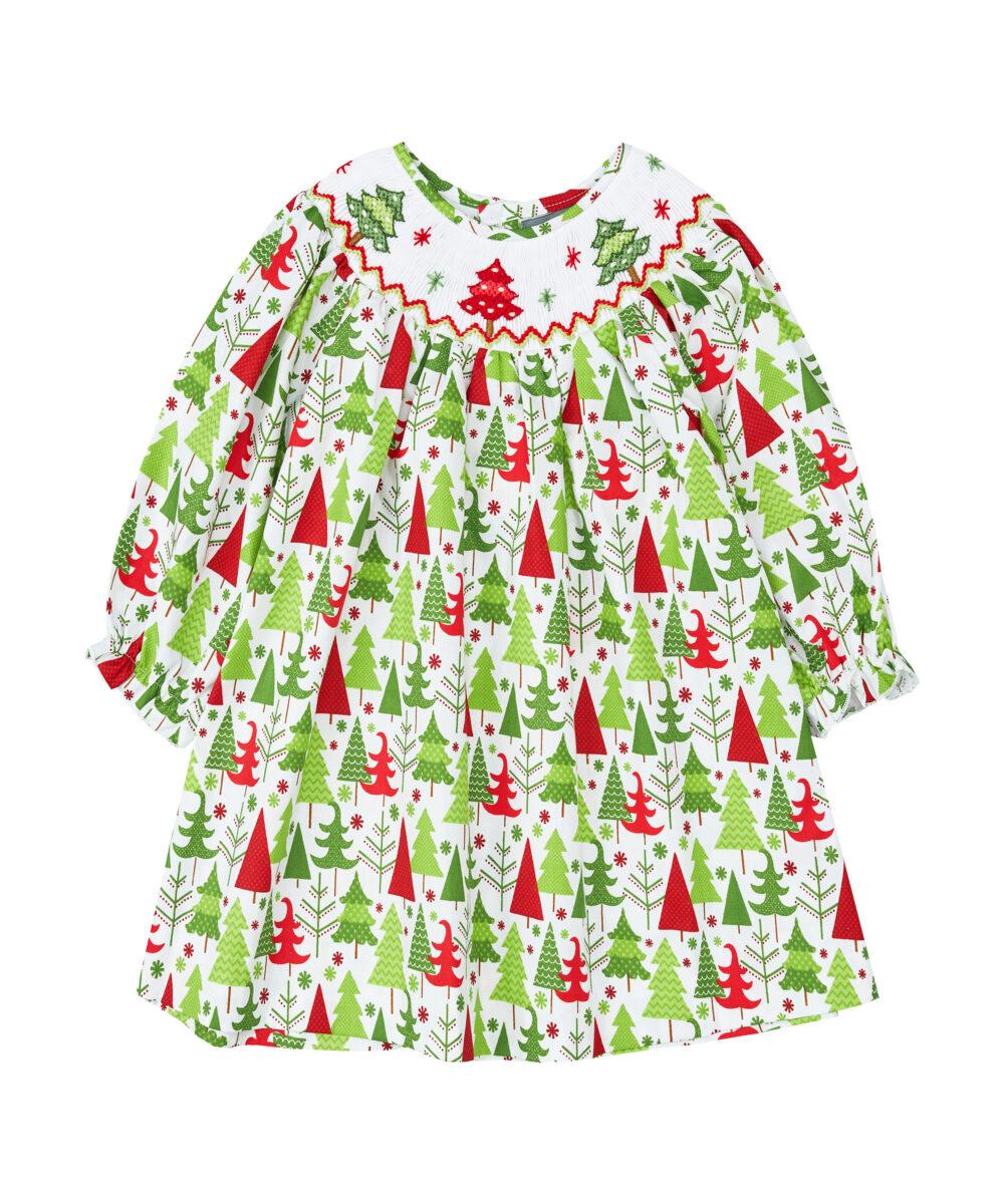 Christmas Tree Smocked Bishop Dress