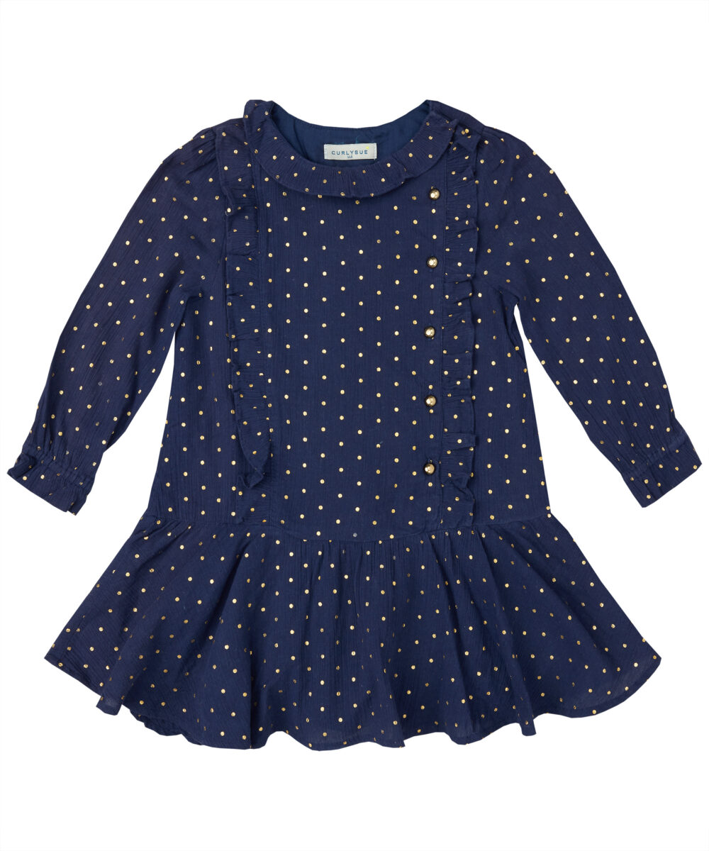 Navy Blue & Gold Polka Dot Ruffle  Drop Waist Dress