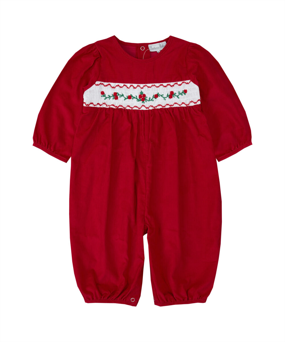 Smocked Red Light Weight Corduroy Romper