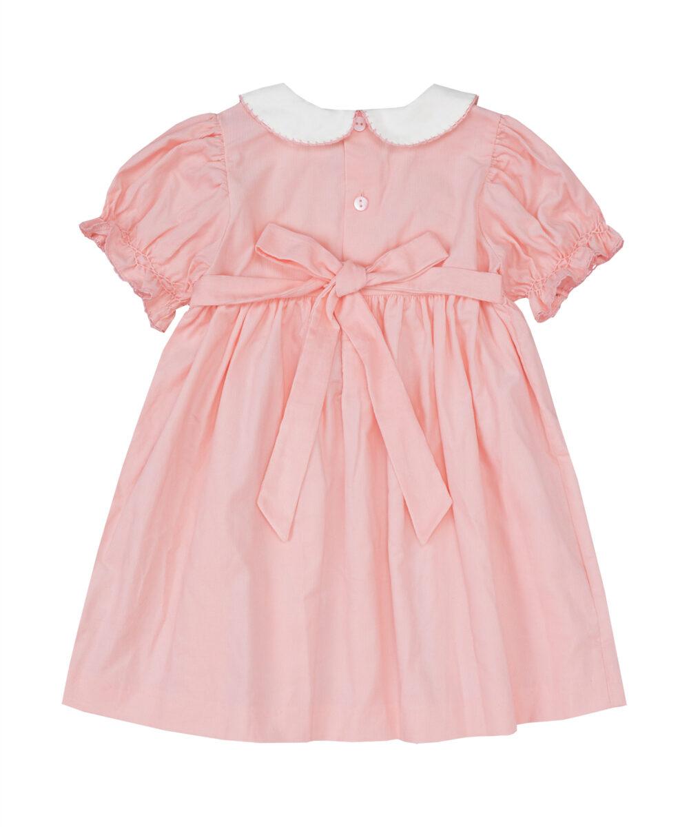 Pink Corduroy Smocked Pink Dress