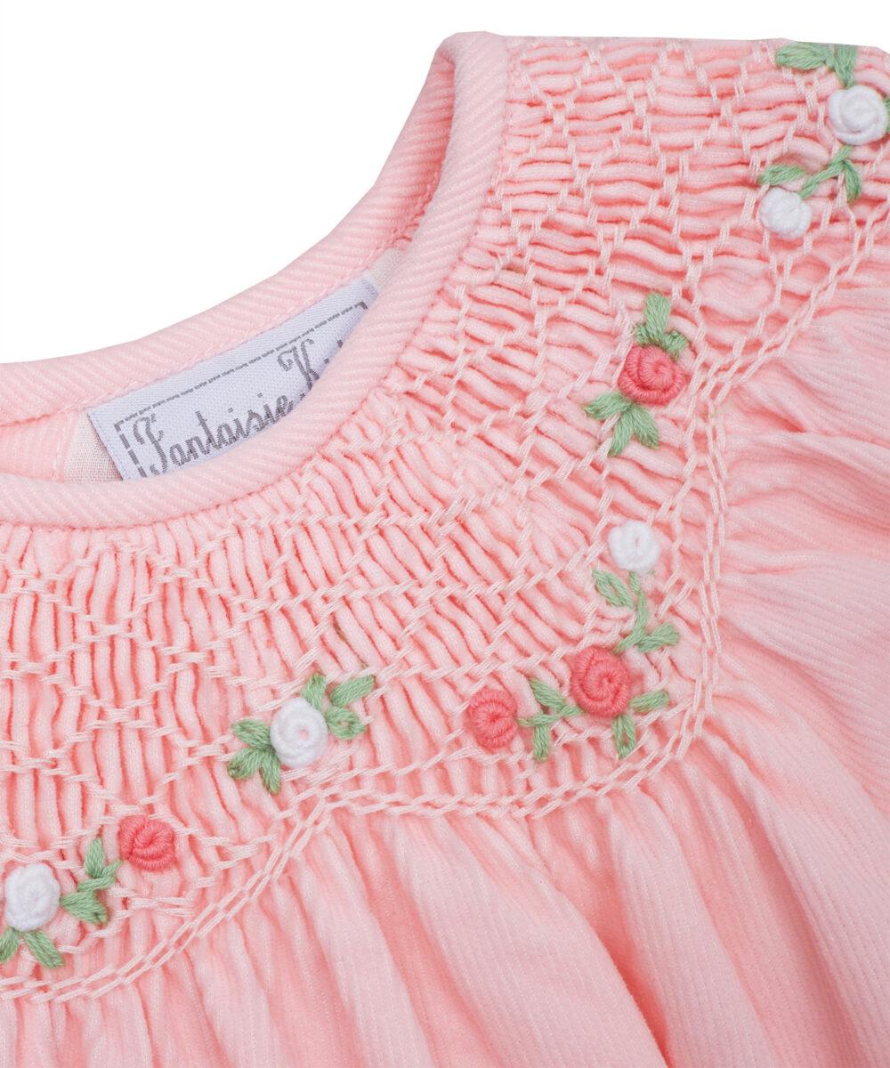 Pink Corduroy Smocked Bishop Dress