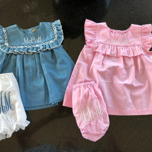 Blue & White Smocked Denim Ruffle Top And Bloomers photo review