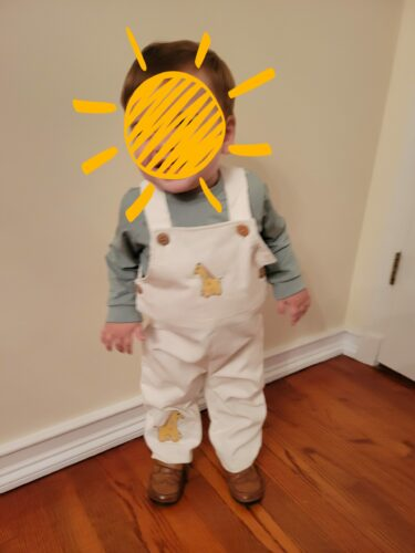 Giraffe Embroidered Overalls & T-Shirt photo review